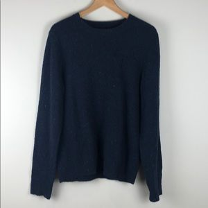 J. Crew Wool Blend Blue Speckled Crewneck Sweater